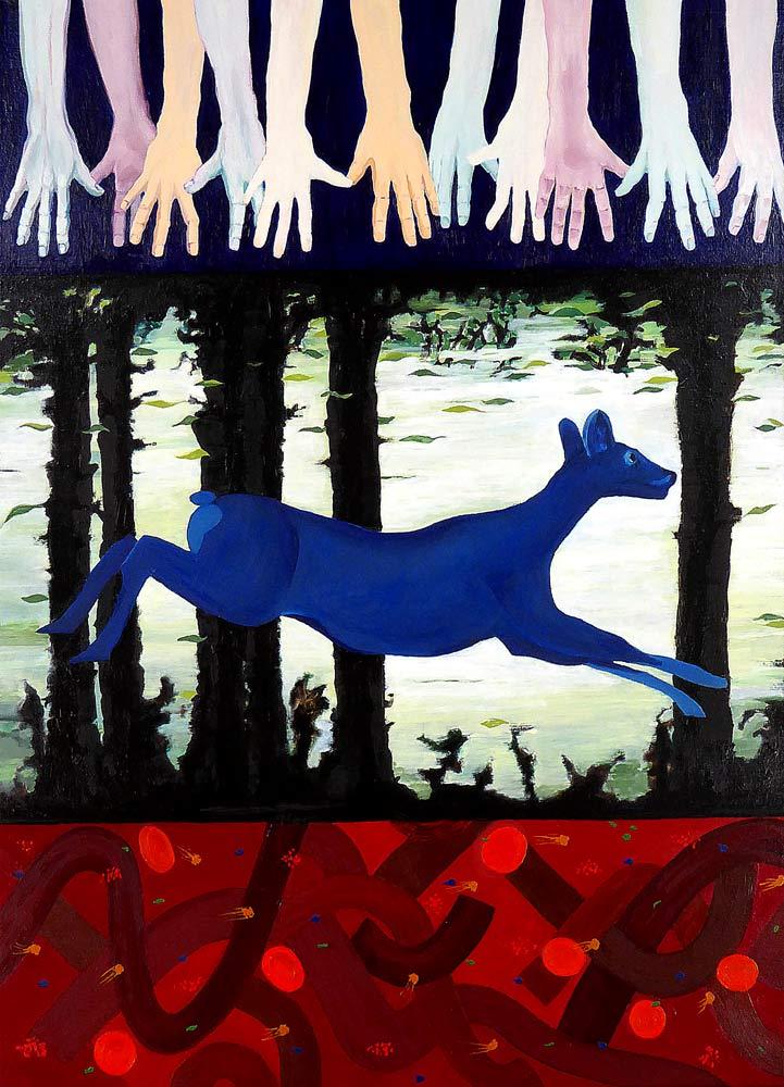 Tre delmotiver over hinanden. Et koloristisk maleri, hvor øverste motiv viser en række arme og hænder som strækker sig mod et usynligt mål. Midterbilledet er en hjort i spring mellem træer, og nederste billede viser en abstraktion over turbulent blod.