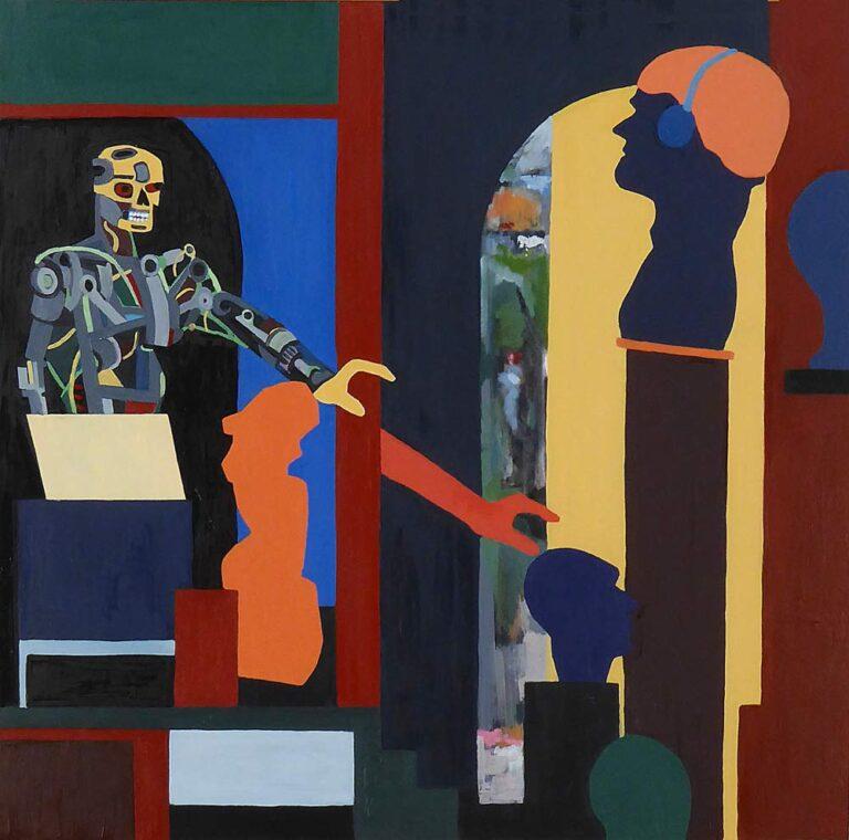 Maleriet viser tre rum, to inde og et ude. Sidstnævnte ses gennem en dør og udgør et landskab. Et rum til højre viser en billedhuggers værksted med buster, og nogen rækker ud efter en. I det venstre rum er en robot, som også rækker ud efter en buste i højre rum.
