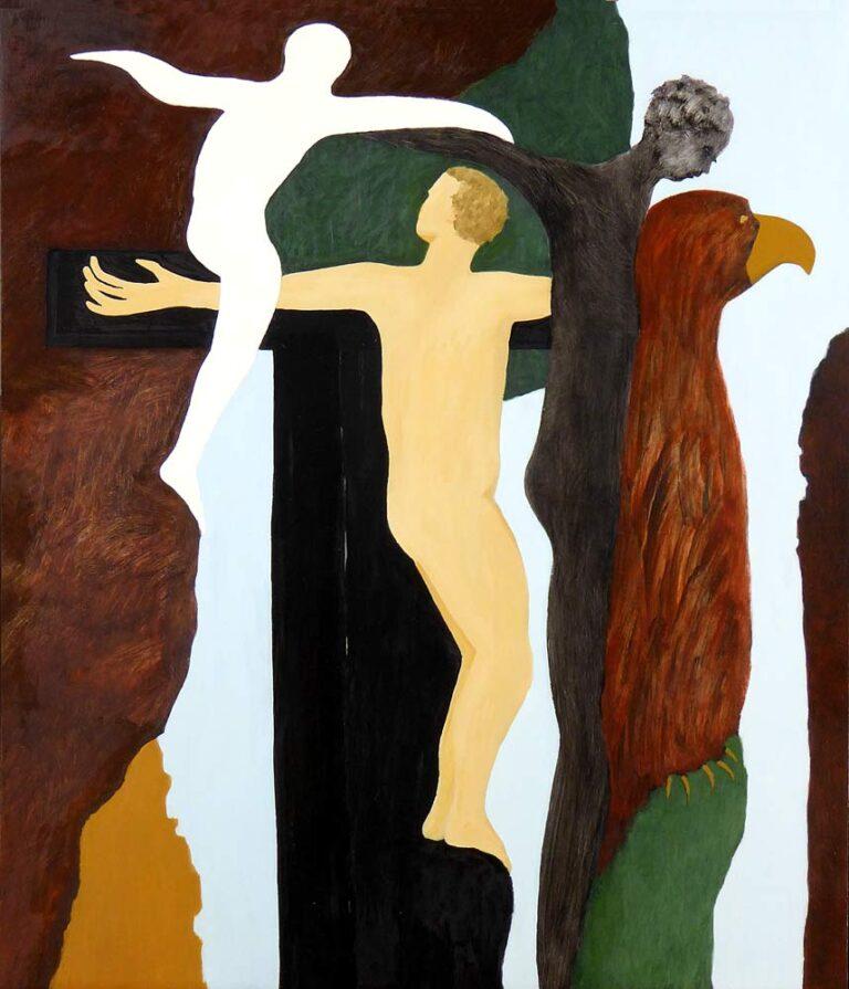 Fra højre mod venstre ses fire skikkelser højt oppe i et bjerglandskab: en ørnelignende fugl, som hviler, en person som synes klar til at springe ud i afgrunden, en stiliseret korsfæstelse, og en luftig menneskefigur, der som ånd er på vej op i luften.