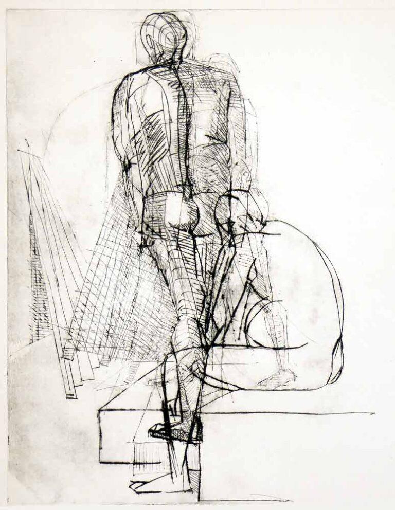 Stående mandlig model med ryggen til. Samme model siddende. Kan opfattes som en bevægelse fra siddende til stående.