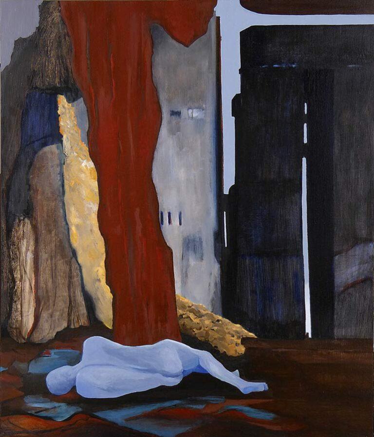 Maleriets motiv er en person, som ligger nøgen, måske død på en plads i en by med nye og gamle bygninger samt ruiner. Der er ingen tegn på menneskelig kontakt eller liv.