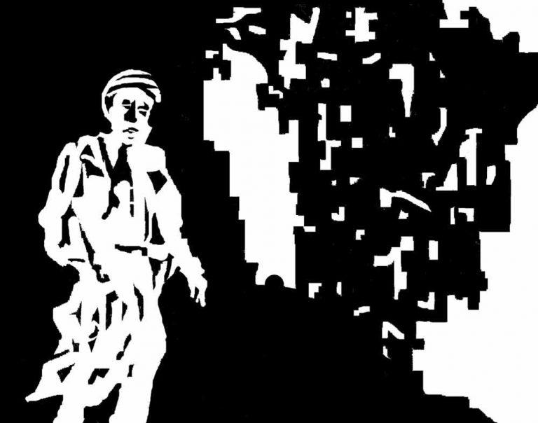 Østerlandsk soldat på ensom patrulje i en bombeødelagt by. Grafikken forsøger med enkle midler at skabe stemning.
