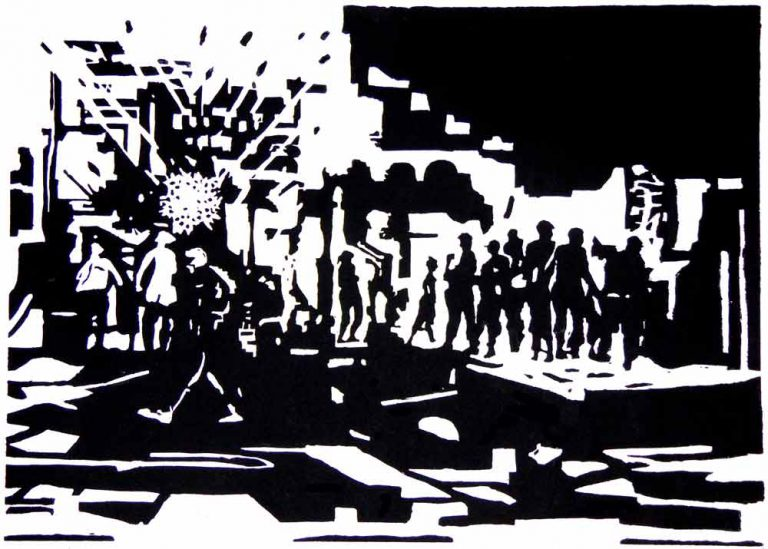 I byens centrum detonerer bomben. Fragmenter af jern og sten slynges mod sagesløse mennesker. Billedet antyder resultatet af andre bombers hærgen.