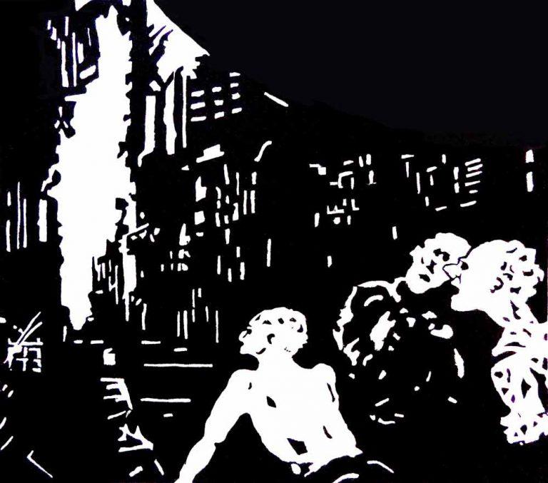 Byruinen lukker sig om tre mænd. De søger en udvej. Linoleumssnittets sorte og hvide spænder stemningen op.