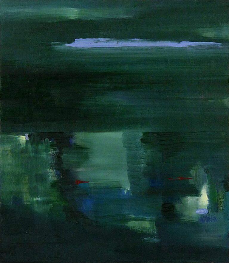 Det grønne maleri giver fornemmelse af fart, som når man ser ud af et togvindue. Flimrende former og indtryk af stor dybde i nederste billedhalvdel.