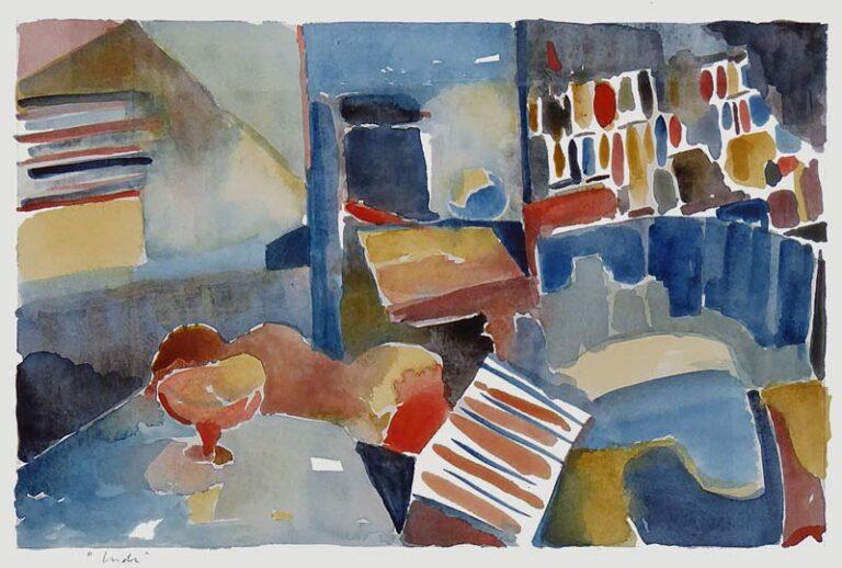 Akvarellen viser et stuemiljø med stole, borde og reoler. Andre former er mindre veldefinerede, så billedet giver et abstrakt indtryk.