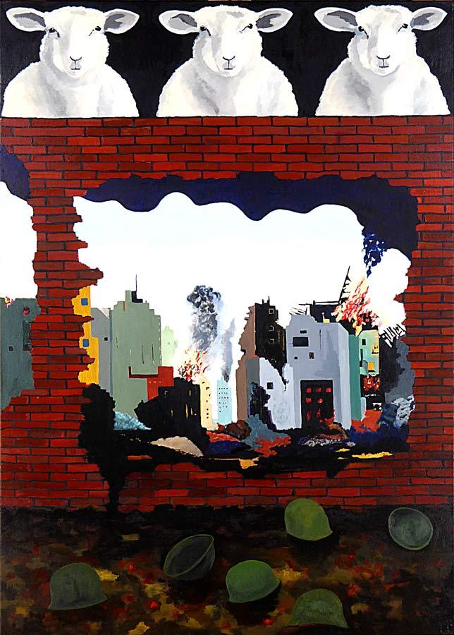 Symbolladet maleri. Hovedmotivet i midterfeltet viser en brændende by. Ruinerne ses gennem et stort hul i en mur. Nederste billede viser et areal foran muren, og her ligger soldaters hjelme på en gold jord. Øverste felt viser tre får en face, de kikker hen over muren på beskueren.