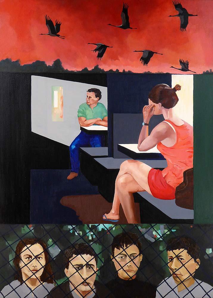 Tre motiver over hinanden, alle med temaet længsel og ensomhed. I midterbilledet er en kvinde siddende i en kupé i egne tanker. Tilbage i kupéen ses en ung mand, som kikker til siden mod indfaldende lys. I øvre billede letter en flok traner til træk. Nederst fire unge mennesker indespærret bag et hegn