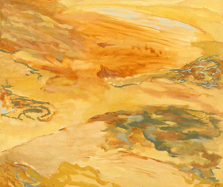Maleriet er holdt i gule farver og giver indtryk af ørkenlandskab. Fornemmelsen er forladthed og hede.