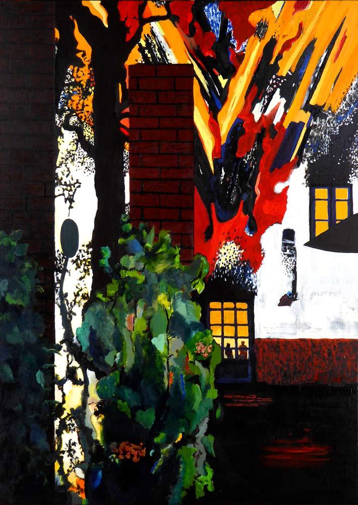 Maleriets motiv er en kraftig eksplosion. To personer står inde bag en dør med ruder. Ud fra bygningen vælter et flammehav. I billedforgrunden er en mur, der delvist deler motivet op i to dele, og foran muren er ejendommelige vækster.