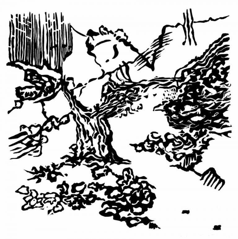 Linoleumssnit med ejendommeligt træ i et opdigtet landskab. Formerne er sære og leder til fantasifuld fortolkning.