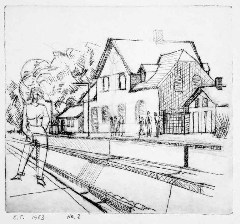 Koldnålsraderingen viser person som venter på toget. På den anden perron ses andre mennesker. Det er sommer, og stationen har et gammelt udtryk.