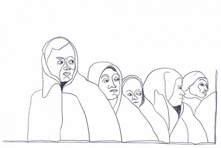 Kvinder på flugt. De er fra mellemøsten, og har været på vej i nogen tid. De er vant til alle mulige farer. Derfor ser vi dem skue tilbage mod et og andet, som vi ikke kan se. Tegningen antyder at de står bag en mur.