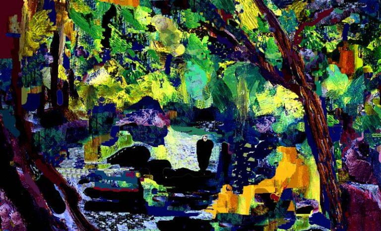 Farvemættet fantasilandskab med genkendelige elementer. En person går i en skov og en skulpturlignende figur ses i forgrunden.
