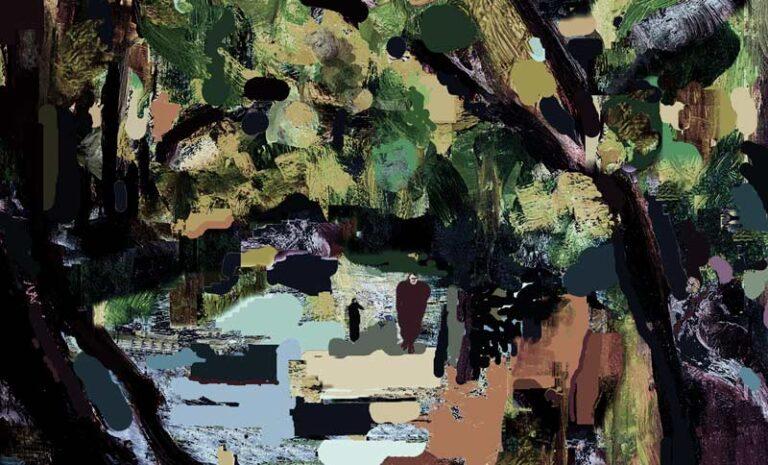 Dystert drømmerisk bjerglandskab med mange træer på begge sider af en flod. To personer går hen mod beskueren.