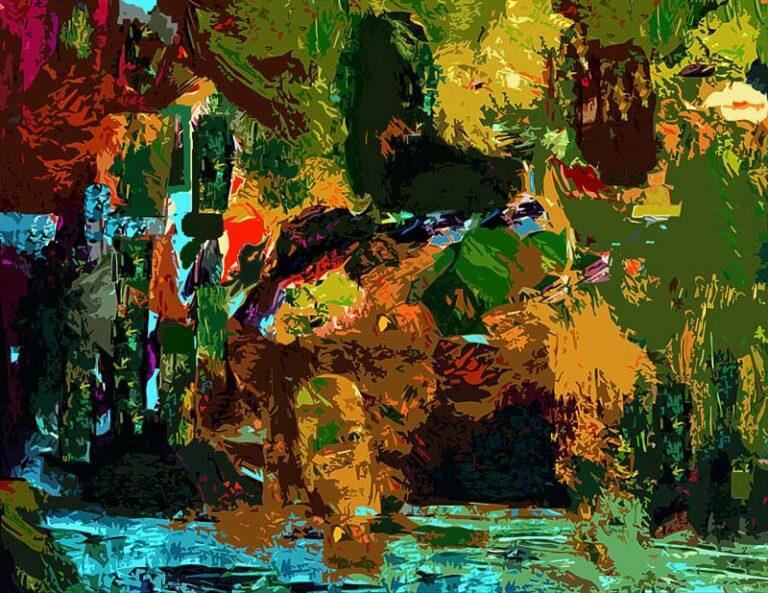 Farvemættet abstrakt motiv som giver indtryk af tropisk regnskov. Udover væksterne ses vand mange steder. Måske også dyr.