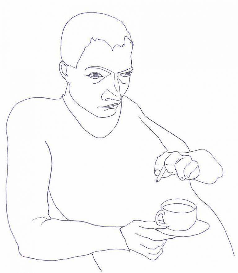 En mand læner træt og tænksom tilbage mod væggen eller måske en disk. I højre hånd holder han en kaffekop og i venstre en cigaret. Stimulanser i situationen. Men trætheden er tydelig i denne tegning.