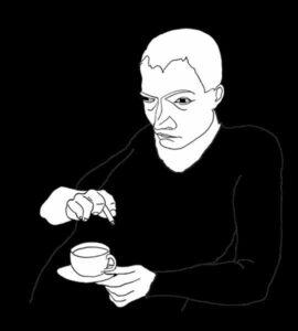 Midt i travlheden holder vi pause. Det gør vi forskelligt. Nogle bliver tænksomme, drikker kaffe og ryger smøger. Digital redigering af en tegning.