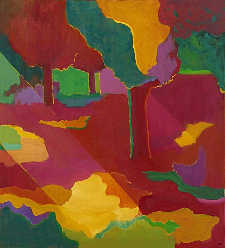 Parkmotiv med stiliserede træer og buske i veldefinerede former og klare farver. Lyset kommer ind fra venstre som solstrejf.