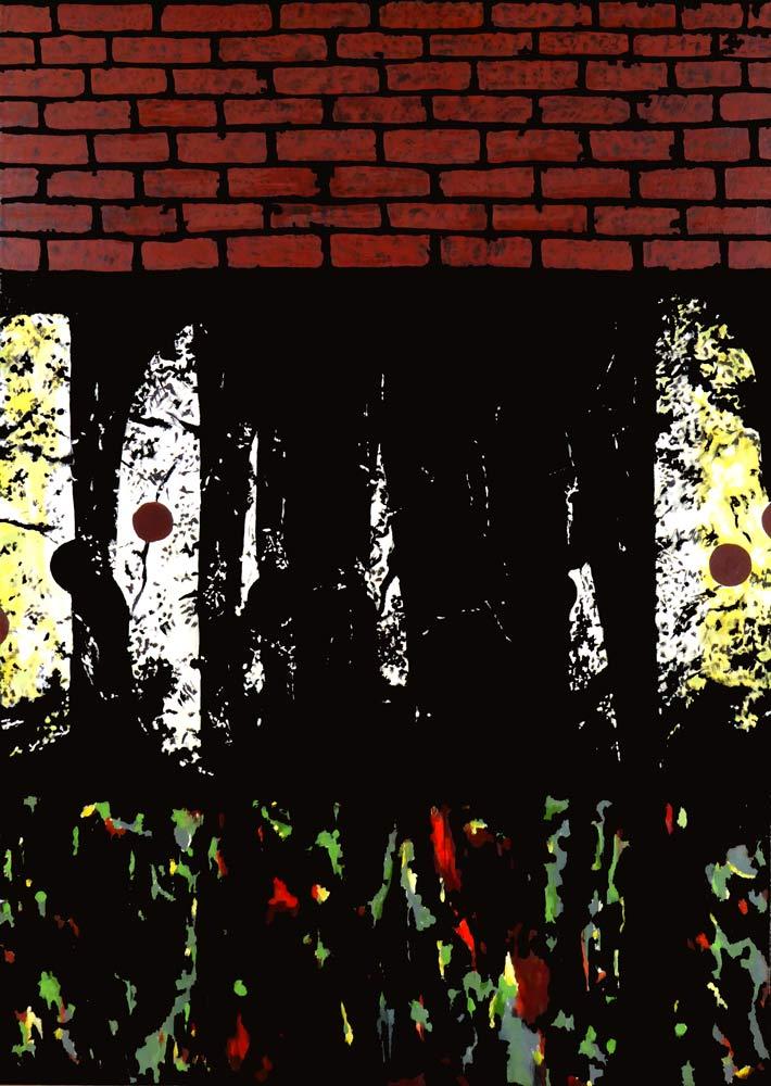 Der er tre delmotiver over hinanden. Midterste viser en stiliseret lysåbning i en skov, hvor kunstige objekter ses. Nederste felt er abstraktion over undergrunden og øverste viser en massiv murstensmur