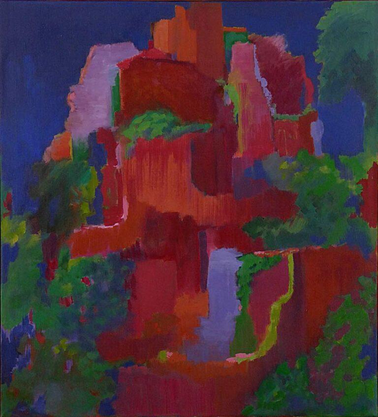 Farvemættet abstraktion over en ruin. Paletten er holdt i få farver, rød, blå og grøn.