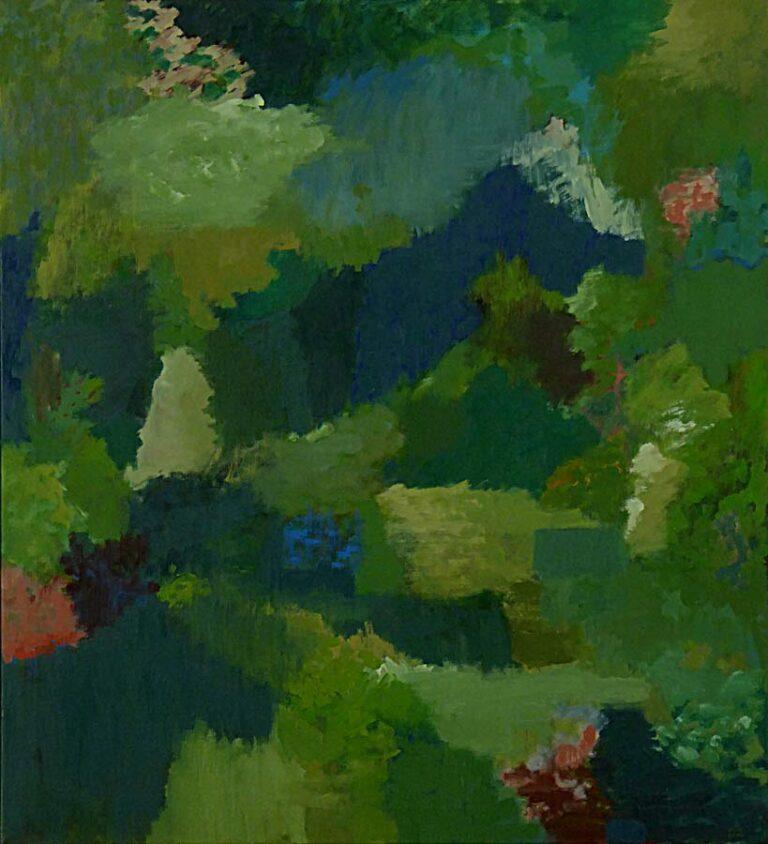 Landskabsbillede skabt af malerens fantasi. Geometriske former i overvejende grønne farver er forskudt mellem hinanden som kulisser. Stort dybdeperspektiv.
