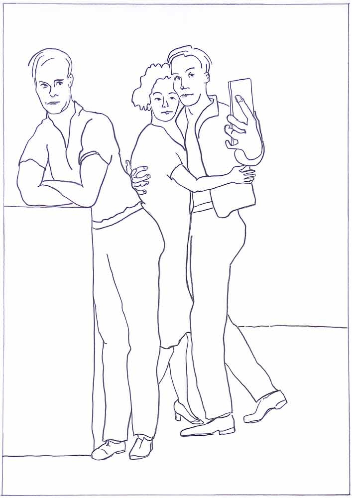 Et par danser eller har lige mødt hinanden i en omfavnelse. Han løfter mobiltelefonen for at tage en selfie. Ved baren står en mand med ryggen til parret. Er tilsyneladende alene. Personskildring er tegningens ide.