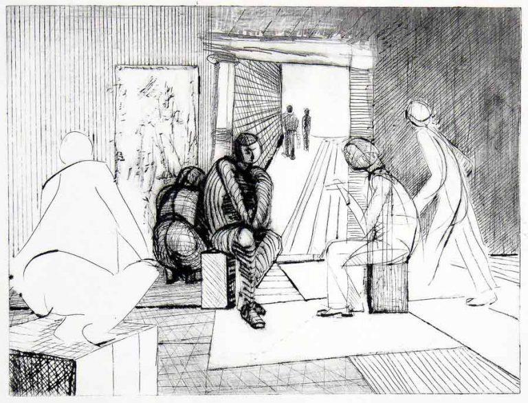 Koldnålsradering med motiv fra billedkunstnerens fantasi. Nøgleperson betragter scenariet. I dette er nogle mennesker beskæftiget sammen, andre alene, inde og ude.