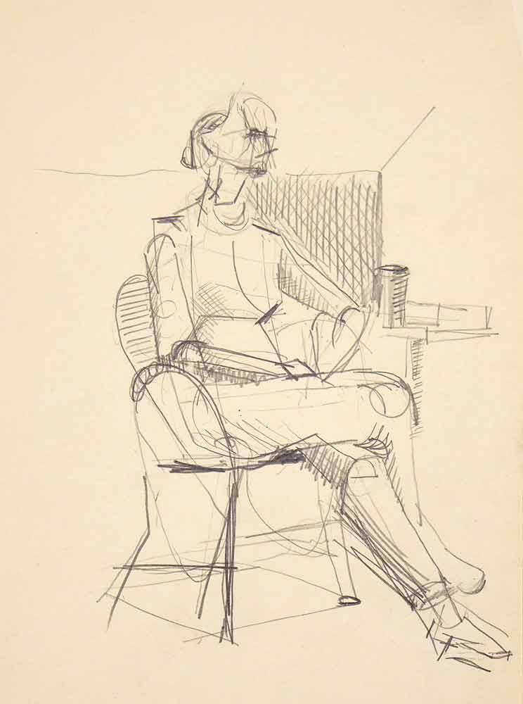 Der er skitsestemning i denne tegning af en siddende kvinde. Billedkunstneren har tegnet for at øve sig. Måske med tanke på et kommende maleri.