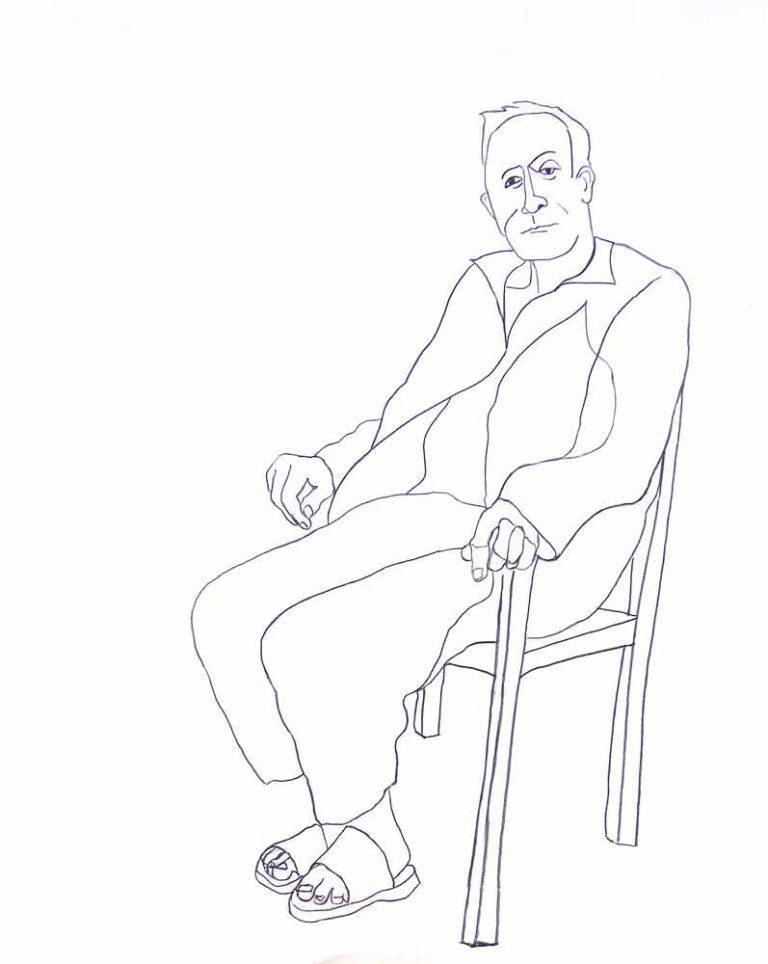 Grafittegningen er fyldt med følelser. En mand sidder på en stol i egne tanker, måske lidt drømmende. Han synes venlig og imødekommende. Men også lidt indadvendt.