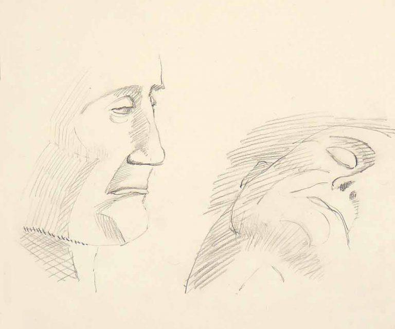 Portrættegning af en mand som har mistet en kær ven. Han sidder ved den døde, er tæt på og synes at ville sige noget. Men kan ikke. Sorgen hindrer ham.