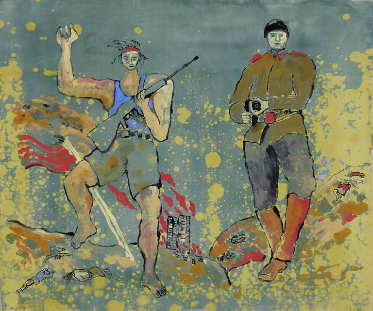 Monotypien, ét tryk, viser mænd med geværer. Ikke rigtige soldater, men lejesvende, som deltager i en krigsmassakre. Brændende huse, døde mennesker, giftige gasser.
