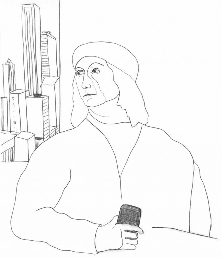 Grafittegningen har forlæg i et renæssancemaleri af Tizian forestillende professoren og maleren G. Bellini i en typisk renæssanceattitude. I vinduet ses højhuse i stedet for et landskab og i hånden har han en smartphone. Det er vores tid. Men mesteren tager desværre ikke telefonen.