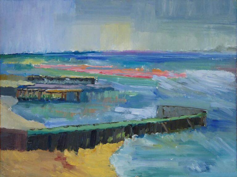Landskabsmotiv malet på stedet. En kyst med høfder. Havet med små bølger, og helhedsindtrykket er sommerstemning.