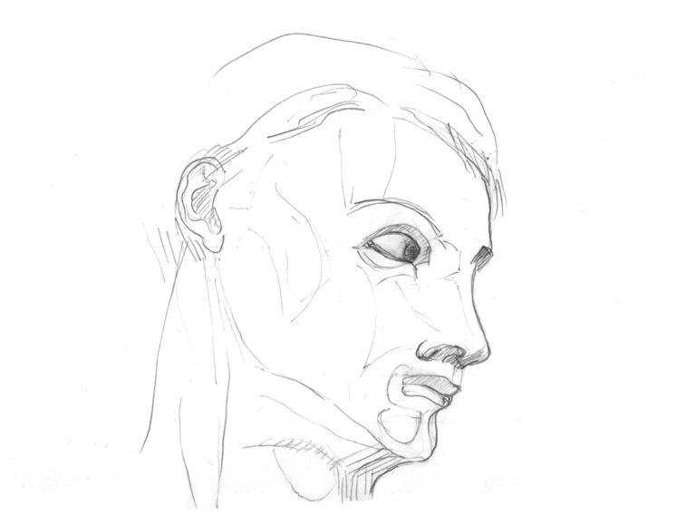 """Blyanttegningen viser en mands portræt set fra siden. Han ser ud mod højre og synes at spørge """"mig?"""" eller """"dig!""""."""