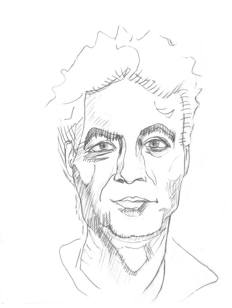 Blyanttegning af en mand en face. Han ser frejdigt på beskueren.