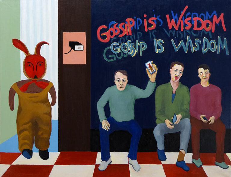 Maleriet viser tre unge mænd siddende ved siden af hinanden med hver sin smartphone. På væggen over dem er en graffiti med teksten: Gossip is wisdom. Til venstre i billedet er en dør til et lyst rum, hvorfra en menneskelignende bamse kommer. En af mændene viser at bamsen er på hans smartphone.