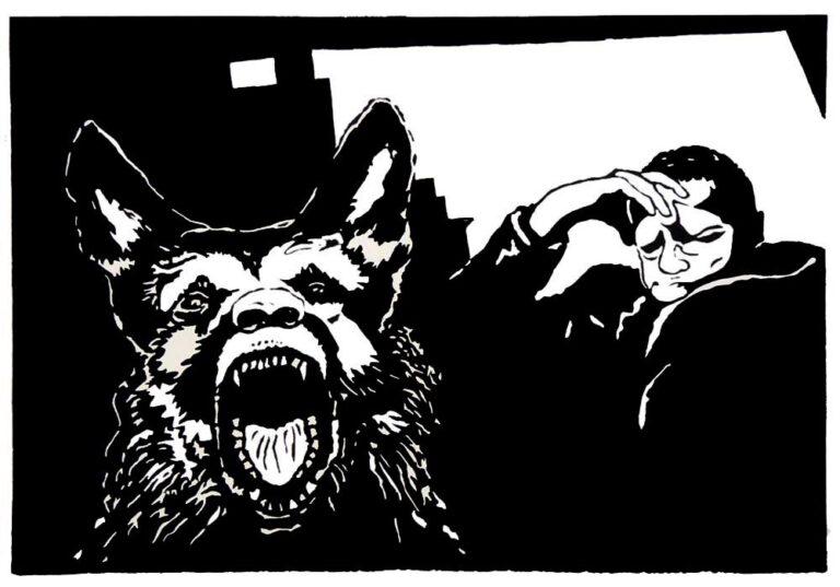 En schæferhund viser sin drabelige mund med skarpe tænder i rasende glammen; rettet ud af billedet mod beskueren. Til højre for hunden sidder en ældre mand hensunken i dybe tanker. Attituden er tænksom tristesse. Rummet, som de er i, er mindre veldefineret.