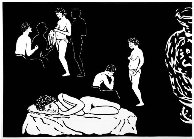 Billedet er inspireret af græske vaser med motiver fra menneskers hverdag. Det viser øverst til venstre en mand og en kvinde - begge delvist afklædte - i samtale eller dikussion. Personerne ses gentaget i et andet billede til højre. Manden har tydeligt ændret attitude mod det tænksomme, og kvinden synes lidt forundret og afventende. Under disse scenarier ses en kvinde liggende afklædt i en seng, dog tillukket attitude og tænksom. Til højre i billedet ses halvdelen af en vase eller amfora, idet billedkanten afskærer vasen på langs. Et konceptuelt billede.