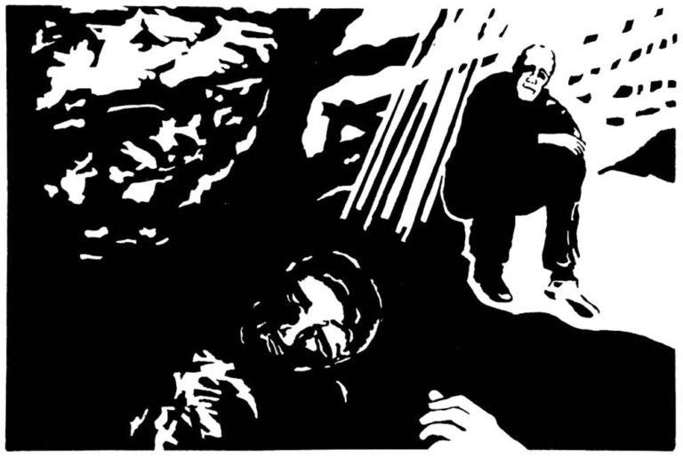 En person ses nedadtil sovende eller død. Ligger måske i jorden men kan også ligge på en bænk (som ikke ses). Over denne person er et landskab med et træ; solen sender lyset gennem trækronen. Til venstre tættere løv, til højre mere åbent landskab. Under træet sidder en mand på jorden. Han kikker hen mod den anden person og ud mod beskueren. Et billede med både fysisk og metafysisk karakter.
