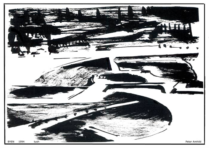 Tushtegning som viser abstraktion over byen med dens forstæder og indfaldsveje.