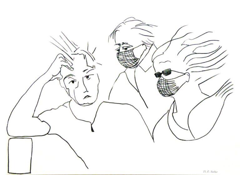 Grafittegningen viser tre personer, to ældre og en ung mand. De to personer bærer mundbind og synes at bevæge sig i uvejr, i koronastormen med blafrende hår. Den unge mand ser tænksomt på billedbeskueren, hans hår stritter af rådvildhed.