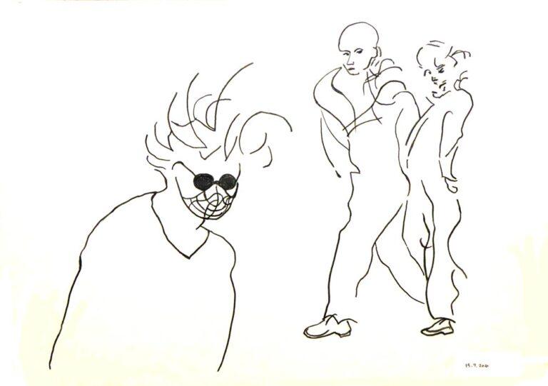 Tegningen viser tre personer. To kommer gående sammen og ser i retning af den tredje person, en mand som bærer mundbind. Hans holdning er ludende og håret stritter, attituden er usikkerhed. De to andre synes derimod helt uanfægtet.