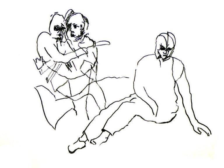 Tegningen viser tre personer. Den ene er en mand, som bærer en person, måske en kvinde, og den tredie person er en kvinde, som sidder henfalden på et underlag, der kunne være jorden eller en bunke af måske murbrokker. Billedet gør ikke nærmere rede for miljøet, men man fornemmer alligevel, at omgivelserne er kaotiske.