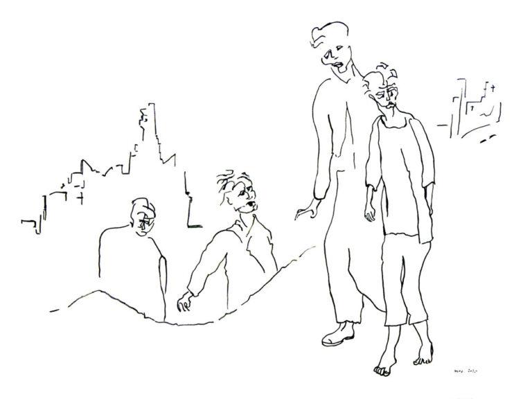 Tegningen viser fire personer i et bombet bymiljø med ødelagte huse. To personer virker syge og udhungrede. De er på vej ned ad en bakke. De andre er påvirkede af omstændighederne. En af dem forsøger at kontakte de to syge.