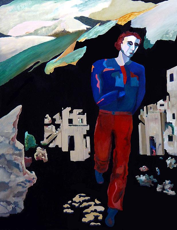 Maleriet viser en mand, som løber mod beskueren. På flugt fra et delvist ødelagt bylandskab. Lyset er diffust som månelys og sammen med den sorte baggrund ses, at det er nat. En slags fixerbillede viser også et bjerglandskab.
