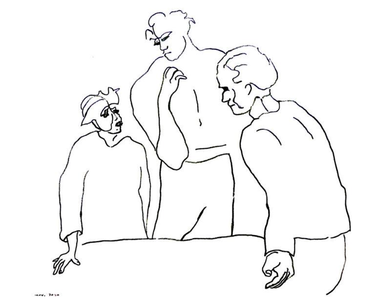Tegningen viser en lille kvinde med hat. Hun er komfronteret med to mænd; den ene er kæmpe stor bøddeltype. Den anden mand ligner en forhørsleder. Han slår ud med armene. Hvilket måske betyder: desværre, her er ingen nåde.