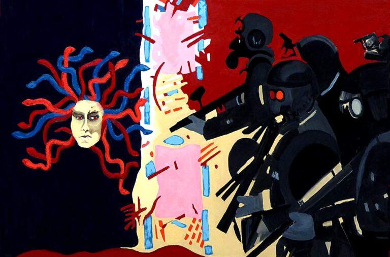 Maleriet viser Medusas ansigt med slangehår i venstre side af billedfeltet; i højre side ses hjelme-beklædte politisoldater med skydevåben. I midterfeltet ses et virvar af billedelementer som i et abstrakt maleri. Politifigurerne synes stivnet i bevægelsen fremad og Medusa skuler ondt imod dem.