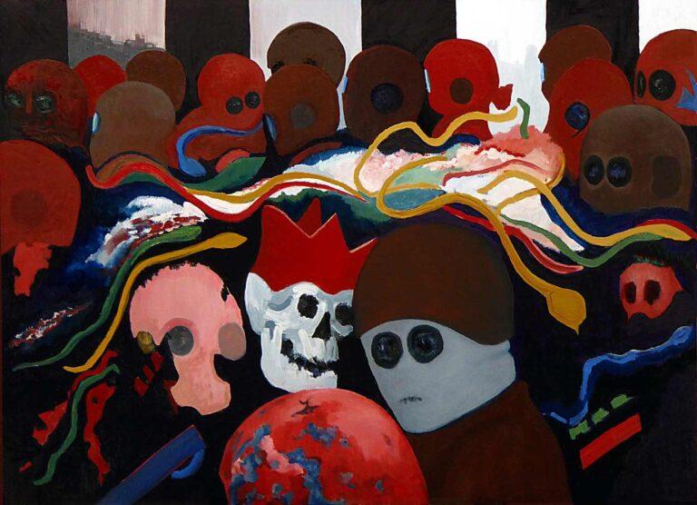 Hjelme- og maskebeklædte personer tumler rundt i et åbent rum, hvorfra baggrundens ulmende himmel ses. I forgrunden ses en maskebeklædt mand i samtale med en anden, hvis hjelm ses som en jordklodelignende struktur. Døden - et kranium med krone - er den mest livagtige figur i forsamlingen. Flere personer ser forstenede ud, som det sker, når man møder Medusa.