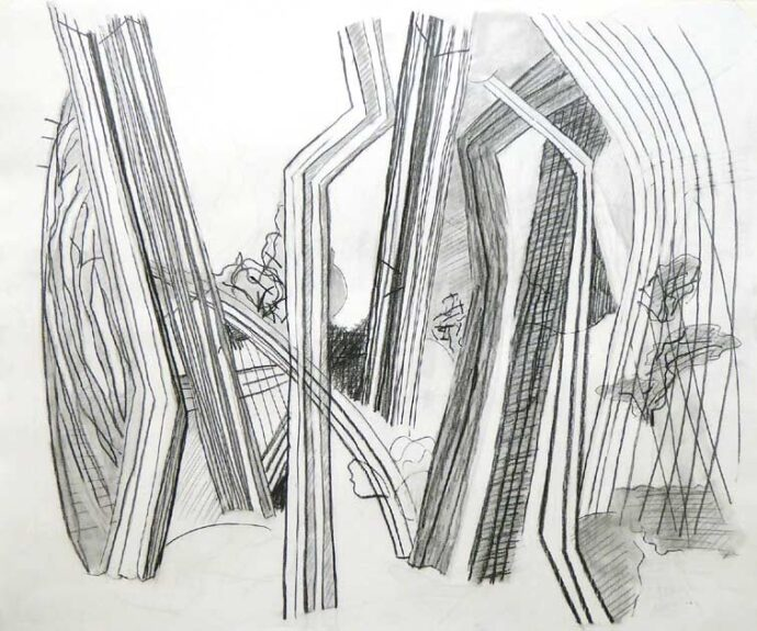 Blyanttegningen viser trælignende figurer i et forvansket landskab. Men figurerne kan også ses som vejnet i et landkort.